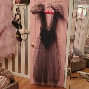New Black Tulle Dress Overlay w/ bodysuit sz Med.